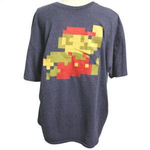 Pixelated Super Mario Mens Size XL T-Shirt Blue